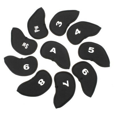 10Pcs/Pack Black Golf Club Iron Head Number Covers Headcover Protectors 14*7.5cm