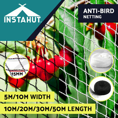 Instahut 10-50m Anti Bird Net Netting Knit Commercial Grade 15mm Bird netting