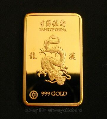 Exquisite China Year of the Dragon 24K Gold Plated Commemorative Art Bar Token