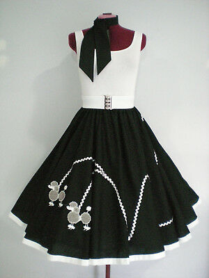 "ROCK N ROLL/ROCKABILLY  ""POODLE"" SKIRT-SCARF M-L Black/White/Grey/Silver."