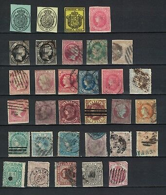 spain stamps queen isabella - imperf and perf, mint and used good range useful