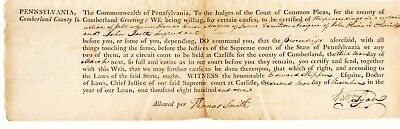 PA Continental Congressman 1781-82 Thomas Smith: 1801 signed document