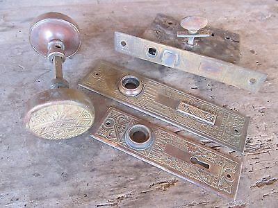 Antique P& F Corbin 1870's Aesthetic Brass Matching Door Knob Mortice Lock SET