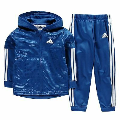 adidas Kids Boys 3 Stripe Hooded Tracksuit Infant Poly Long Sleeve Zip Full