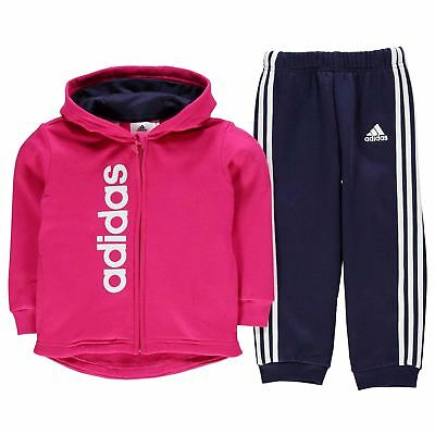adidas Kids Girls Fleece Hoody and Jogger Set Infant Tracksuit Hoodie Hooded Top