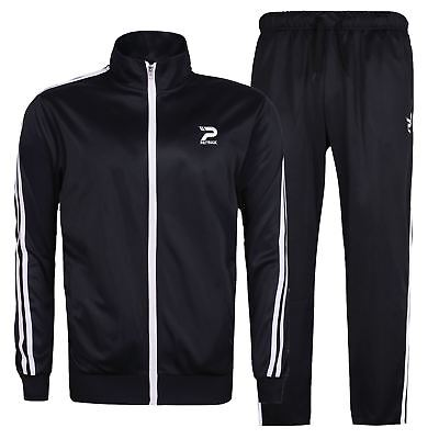 Patrick Mens Poly Tracksuit Long Sleeve Zip Full Stripe Drawstring Elasticated
