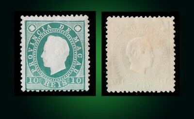 1888 King Luis ,10R. GREEN,Macao,Macau,Mi.33 A SCT. 36 MNG AS ISSUED PERF. 12.5
