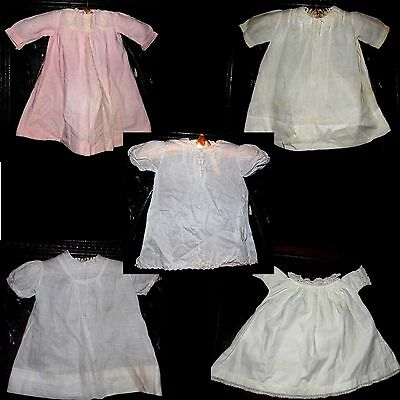 Antique Vintage White Pink Blue Embroidered Pleated Baby (or Doll) Dress 5pc Lot