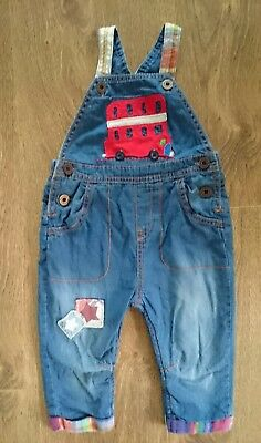 """Next Cute Baby Boy's """"Big Red Bus"""" Dungarees 9-12 Months"""
