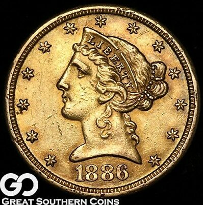 1886-S Half Eagle, $5 Gold Liberty, Nice Collector Gold Coin! ** Free Shipping!