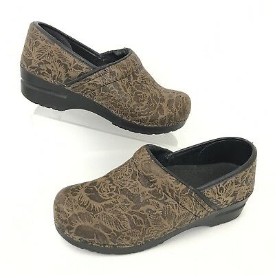 Sanita Womens Occupational Shoes Brown Floral Glitter Metallic Nurse Size 39 S1