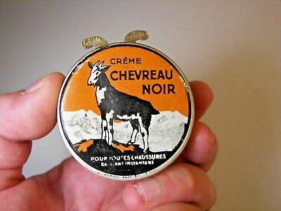 Advertising Shoe Cream Tin Chevreau Noir 1920 Black Goat Wax Blechdose