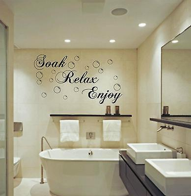 New Bathroom Soak Relax Enjoy Removable Vinyl Art Wall Decals Decor Stickers KJ
