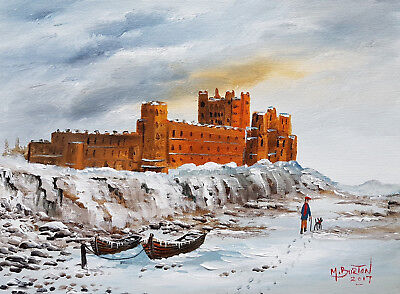 "Mal..burton Original Art Oil Painting   "" A Winters Day Bamburgh Castle  """