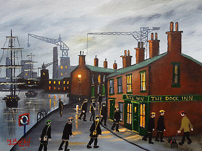 "Mal..burton Original Art Oil Painting   "" The Dockers  """