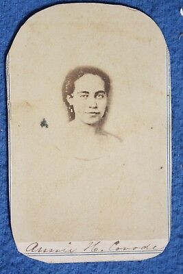 Circa 1864 CIVIL WAR Signed Woman Slave CDV Photo by J E McClees, Philadelphia