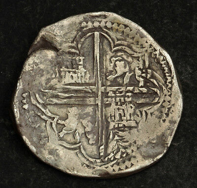 1610s-1630s, Bolivia, Philip IV. Spanish Colonial Silver 8 Reales Cob Coin. R!