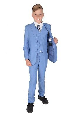 New Light Blue 5 Piece Boy Suits Boys Wedding Suit Page Boy Party Prom 2-12 Year