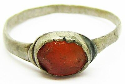 Superb Medieval Silver & Carnelian Finger Ring c. 13th - 14th century A.D.