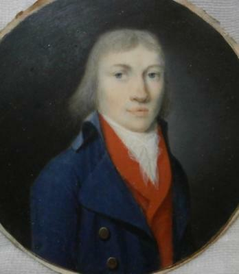 FINE EARLY 1790 's FRENCH PORTRAIT MINIATURE of a YOUNG GENTLEMAN in BLUE COAT