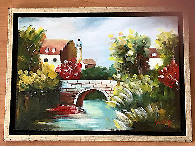 """Canadian Art Original Framed Oil Painting By Vicky Smith  9 3/4"""" X 14"""" Landscape"""