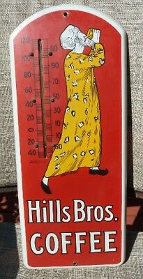 Hills Bros Coffee Porcelain Thermometer Advertising Sign w/Thermometer