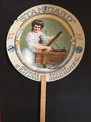 Vintage Advertising Fan Featuring Standard Sewing Machines - Cleveland, Ohio