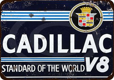 "Cadillac V8 Standard of the World Vintage Retro Metal Sign 8"" x 12"""