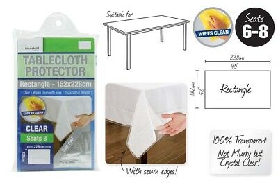 Transparent Plastic Tablecloth Cover Protector PVC Clear 152x228cm Brand New
