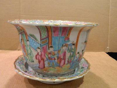 Large Planter & Under Plate Chinese Hand Painted Women & Butterflies Antique