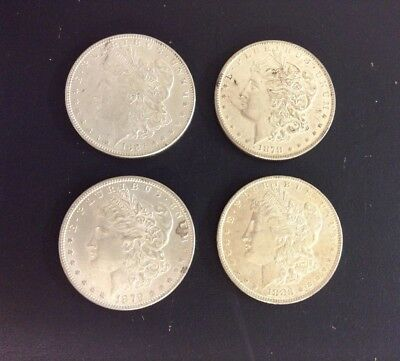 (4) Different Morgan $1 Silver Dollars Lot-BU Condition-1878-S, 1879, 1883, 1884