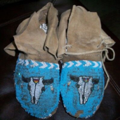 Vintage Antique Rare 1880'S SIOUX INDIAN BEADED BUFFALO HEAD MOCCASINS