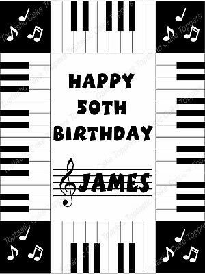 Personalised Piano Keyboard Keys Edible Icing Birthday Party Cake Topper
