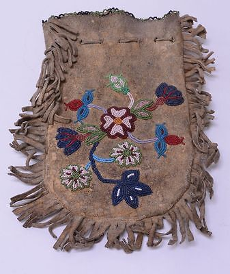 Larger Antique Cree - Stoney - Blood Beaded  beaded bag - late 19th century