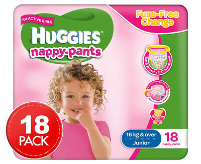 Huggies Nappy Pants For Girls Junior 15kg+ 18pk
