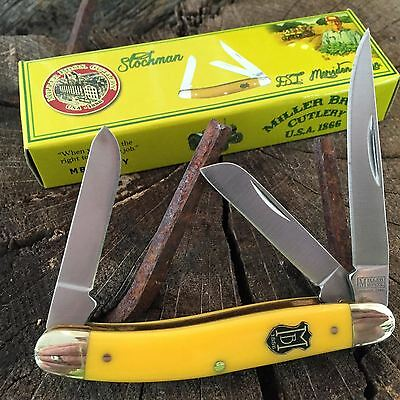 "Vintage Re-Issue MILLER BROS. CUTLERY 3 1/2"" STOCKMAN Pocket Knife MBS-509Y  -S"
