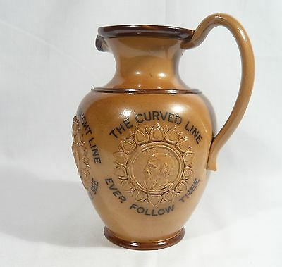 """Antique Royal DOULTON Stoneware 8"""" PITCHER JUG Straight is the line DUTY Mottoes"""
