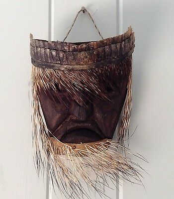 Vintage Carved Wood Tribal Wall Mask Porcupine Quill Whiskers Armadillo Hide