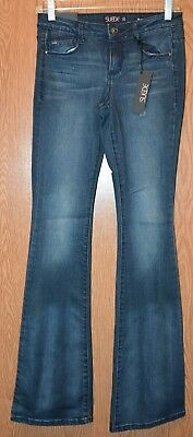 Womens Prefaded Dark Wash Suede Eva Mid Rise Boot Cut Jeans Size 25 NWT NEW