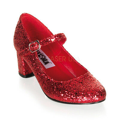 Red Glitter Ruby Slippers Dorothy Wizard of Oz Costume Heels Shoes Womans 6 7 8