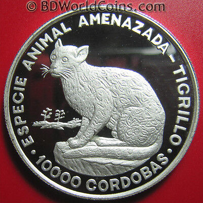 1990 Nicaragua 10000 Cordobas Silver Proof Ocelot Wild Cat Wwf In Booklet Rare!