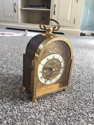 Lovely Wooden And Brass Cased JUNGHANS MEISTER Astro Quartz Mantle Clock