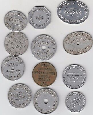 Twelve Bread Tokens, All Different, All Full Loaves Except Two