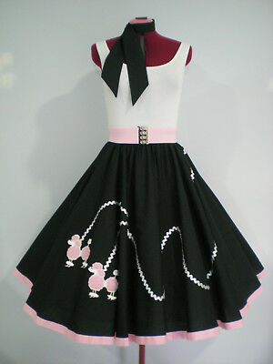 "ROCK N ROLL/ROCKABILLY  ""POODLE"" SKIRT-SCARF S-M. Black/Pink/Silver."