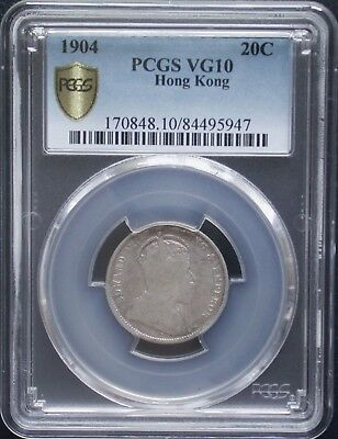 """ Key Date "" PCGS VG-10 1904 China Hong Kong Silver 20 Cent"