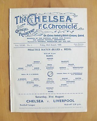 CHELSEA - Practice Match Friendly 1935/1936 (23rd August) *Exc Cond Programme*
