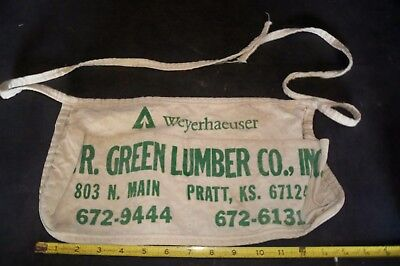 W.r.green Lumber Co. Pratt, Kans, Branded Nail Apron, Uncleaned, Original