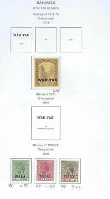 Bahamas lot 2 War Tax Stamps, hinged mint as per scans ( 965) REDUCED