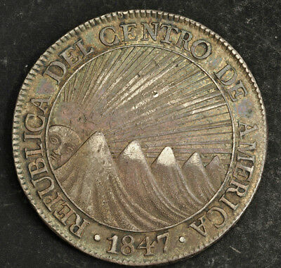 1847, Central American Republic. Large Silver 8 Reales Coin. Guatemala mint!