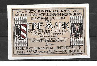 Germany Notgeld 1921 Mark Nurnberg Vf Circ Banknote Paper Money Bill Note